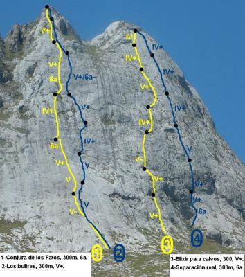 Fresnidiello - Sotres (Asturias) - Vía Vía Elixir para calvos, MD:  300 metros